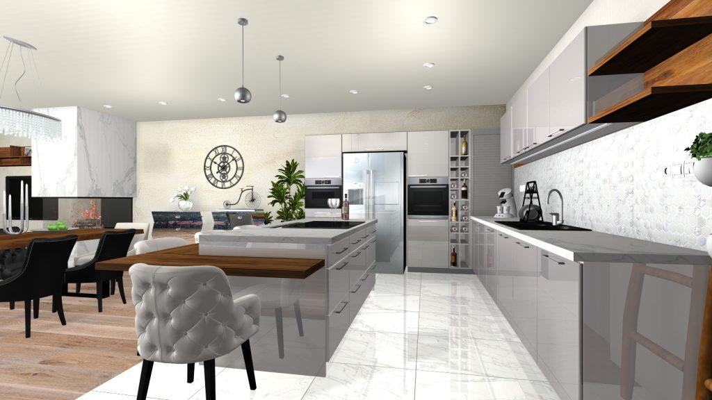 Návrh interiéru kuchyne a obývacej izby